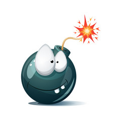 cute funny crazy - cartoon bomb character ahoh vector image