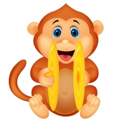 Cute monkey cartoon playing cymbal vector image