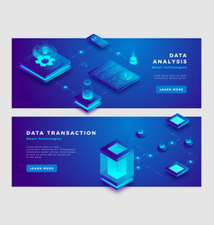 Data analysis and transaction concept banner vector