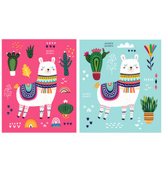 Decorative cards with llama vector
