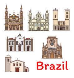 Famous travel landmark brazil thin line icon vector