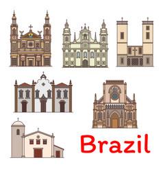 Famous travel landmark of brazil thin line icon vector