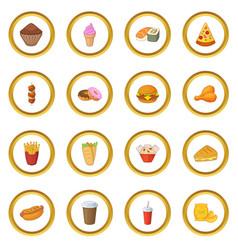 Fast food icons circle vector