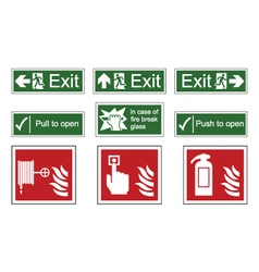 Fire and Emergency Exit Signs vector