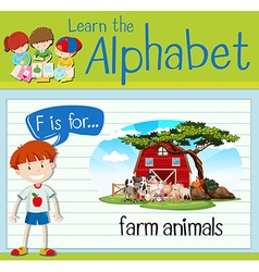 Flashcard letter F is for farm animals vector image