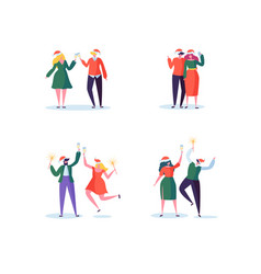 flat people celebrating new year with champagne vector image