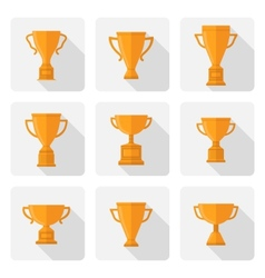 flat trophy cup icons set vector image