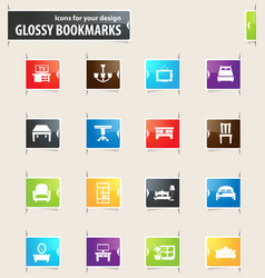 Furniture bookmark icons vector