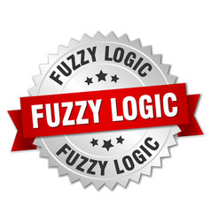 Fuzzy logic round isolated silver badge vector