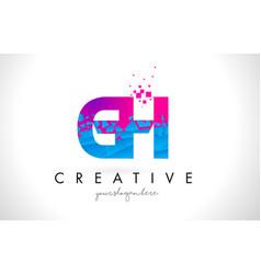 gh g h letter logo with shattered broken blue vector image