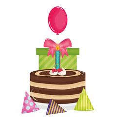 Gift box with sweet cake and balloon helium vector