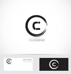 Grunge letter c circle logo vector image
