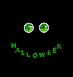 Halloween card green predatory monster eyes and vector