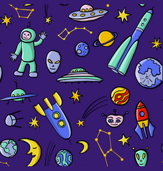 Hand drawn doodle space seamless pattern vector