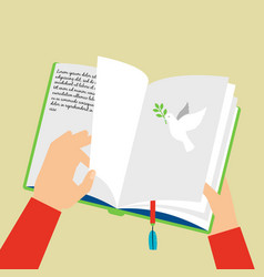Hands holding notebook with bookmark vector