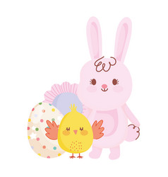 Happy easter cute rabbit and chicken egg flower vector