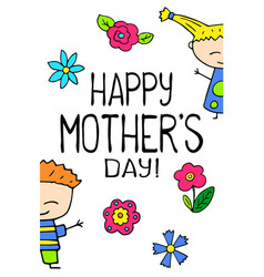 happy mother day postcard on white background vector image