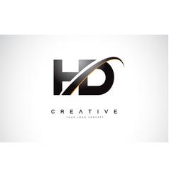 Hd h d swoosh letter logo design with modern vector