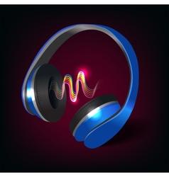 Headphones dark background vector image