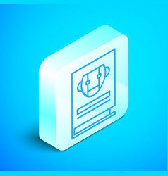 Isometric line user manual icon isolated on blue vector