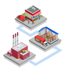 Isometric waste processing plant technological vector