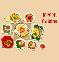 Israeli cuisine traditional dinner dishes icon vector