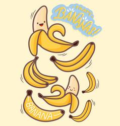 Kawaii banana characters vector