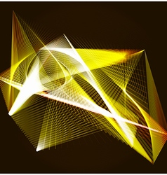 Lines shapes lighting abstract on golden dark vector image