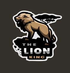 lion king of beasts logo emblem on a dark vector image