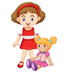 Little girl playing with doll vector