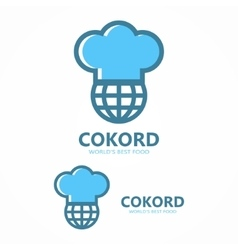 Logo combination of a chef hat and globe vector
