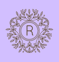 monogram r logo and text badge emblem line art vector image