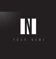 n letter logo with black and white negative space vector image