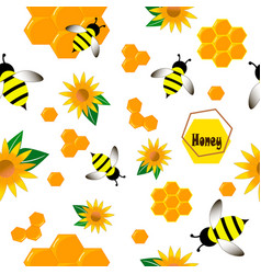 Pattern bee wasp honey in flat style vector