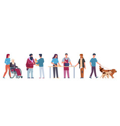 people volunteer volunteering and supporting vector image