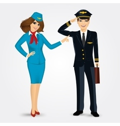pilot and stewardess in uniform vector image