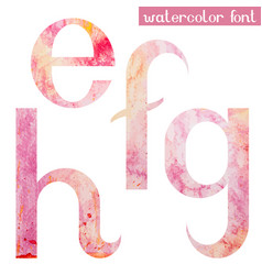 pink spring watercolor font letters e f g h vector image
