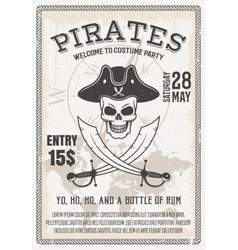 Pirates costume party poster vector