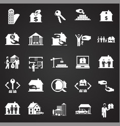 real estate and mortgage set on black background vector image