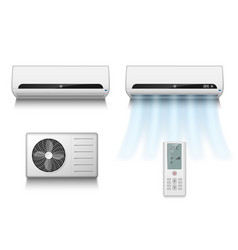 Realistic set of air conditioner with cooling vector