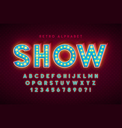 retro cinema font design cabaret led lamps vector image