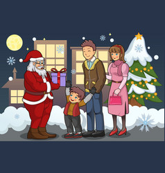 santa claus giving out christmas presents to a boy vector image
