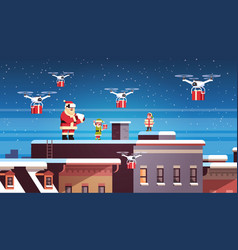 santa claus with elves on roof hold controller vector image