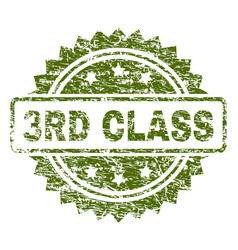 Scratched textured 3rd class stamp seal vector