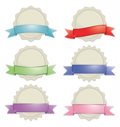 seals with ribbons vector image