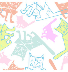seamless design with cats vector image
