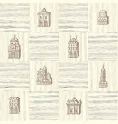 Seamless pattern with old hand drawn houses vector
