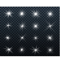 set glowing light effects sparkles shining vector image