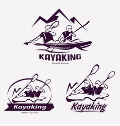 Set kayaking templates for labels emblems vector