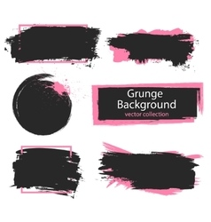 Set of black and pink paint ink brush strokes vector